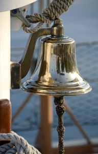 Ships Bell: The bell of the gaff schooner Inland Seas out of Suttons Bay, Michigan