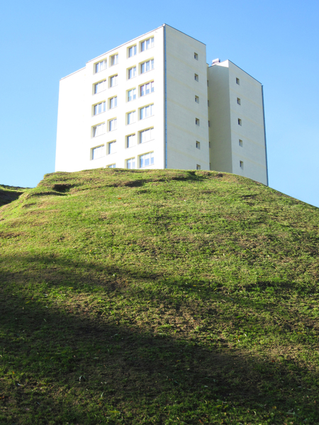 Block on a hill: A block of flats on a small hill. Warsaw, Poland.