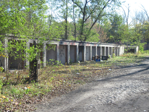 Ruined garages: Ruined garages. Pilsudski Fort area, Warsaw.
