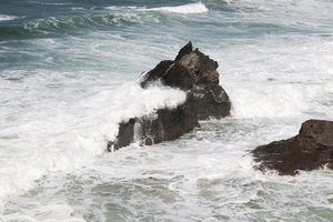 Rocks and crashing waves
