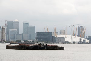Canary Wharf, London: View of Canary Wharf, London, England, from the south bank of the River Thames.