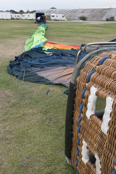 Unpacking a hot air balloon