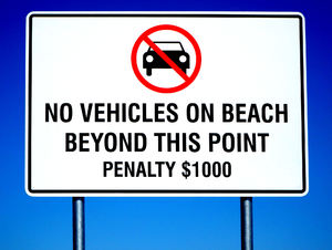 vehicle free beach1: vehicle beach access prohibited - high penalty