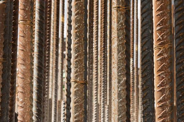 Iron reinforcing rods: A huge array of iron rods for reinforcing concrete during construction work in London, England.