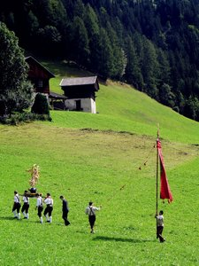 Splendours of procession...: on a high festive day (Assumption Day/Maria Himmelfahrt) of roman catholic tradition in Europe/Austria/Carinthia on the border to Tyrol.