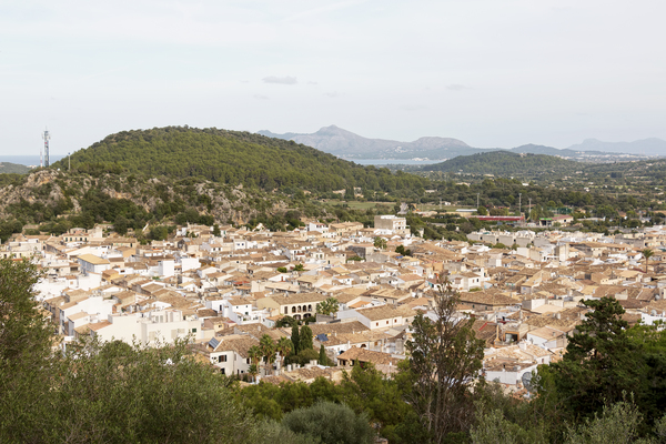 Old town: Panoramic view of Pollença, Majorca, Balearic Islands, Spain.