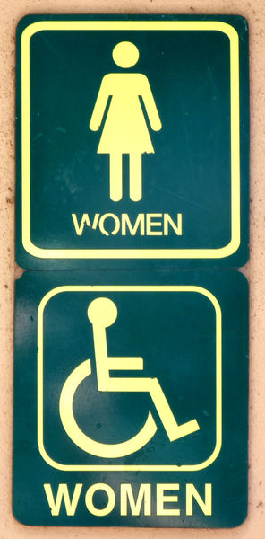 public toilet indicator2: sign indicating public women's toilets with wheelchair access