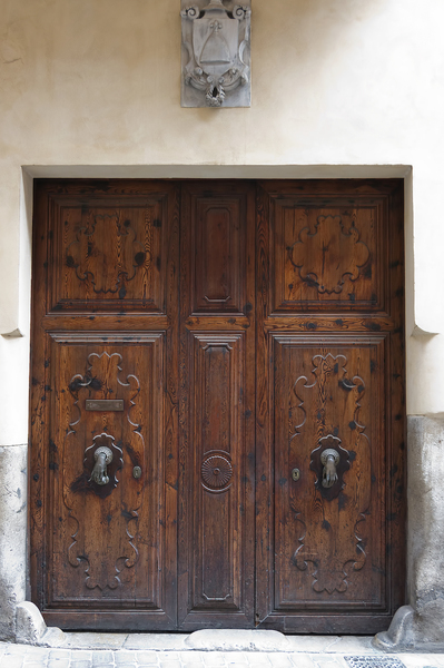 Ancient doors: Ornamental doors in an ancient house in Majorca, Balearic Islands, Spain.