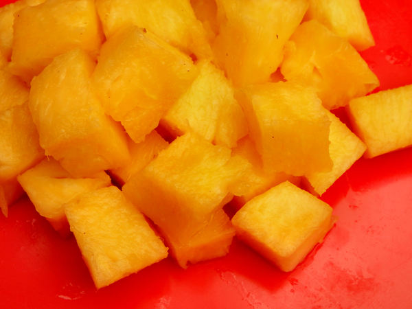 diced pineapple4: diced fresh raw pineapple pieces
