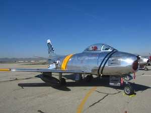 F-86 Sabre 2: The F-86 Sabre, sometimes called the Sabrejet, was a transonic jet fighter aircraft. Produced by North American Aviation, the Sabre is best known as the United States' first swept wing. It fought during the Korean War and was flown by various countries ar