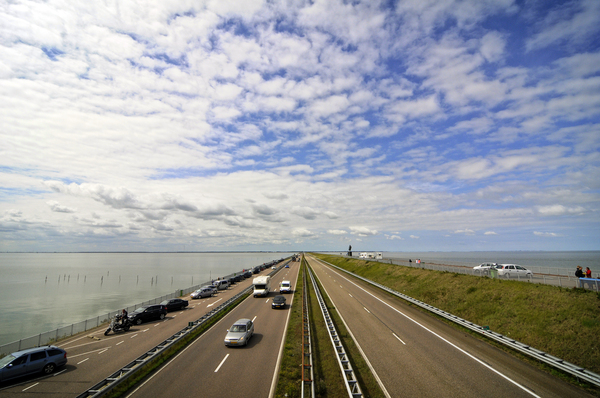 traffic: traffic and parking on a Dutch road on the