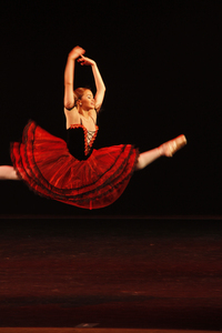 Ballerina Leap: A beautiful ballerina mid-leap