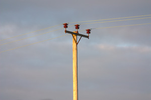 Electricity pole: Electricity transmission pole with wires in evening sunlight