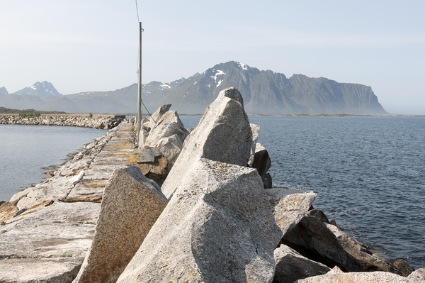 Harbour wall: A harbour wall in the Lofoten Islands, Norway.