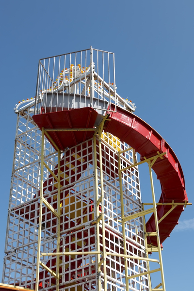 Funfair slide: A helter-skelter (slide) at a funfair in Sussex, England.