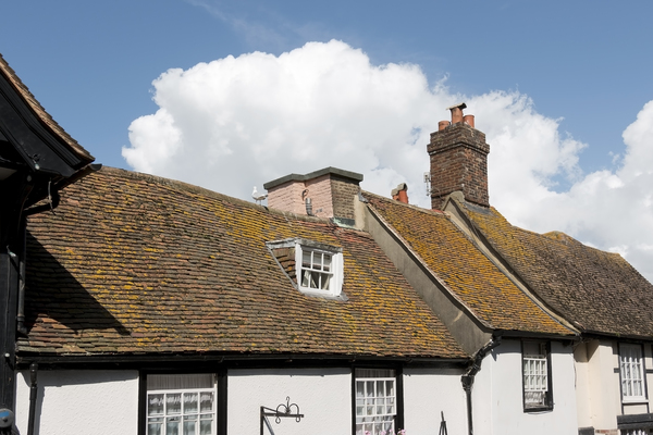 Old houses: Upper storeys of old houses in East Sussex, England.