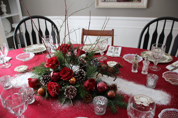Steve's Christmas table: Table set for Christmas dinner.