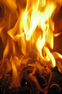 Fireplace series 5: Series of fire photos taken of the same fire - an indoor fireplace.NB: Credit to read