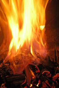 Fireplace series 3: Series of fire photos taken of the same fire - an indoor fireplace.NB: Credit to read