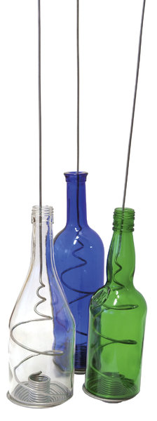 Funky Bottles: Recycled bottled used as candle holders.NB: Credit to read