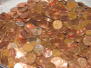 Penny Wars - Pennies: A Penny Wars fundraiser event. A sea of pennies.