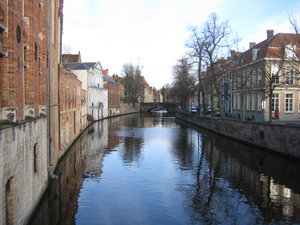 Brugges River: Houses by a beautiful river in Brugges, Belgium