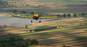 Fumigation airplane: Small, yellow fumigation airplane flying over rural landscape.