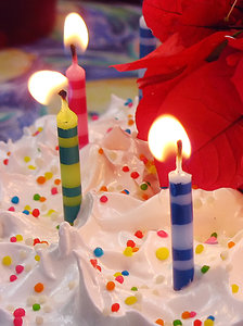 Birthday cake: Birthday cake with colored candles and flower ornaments
