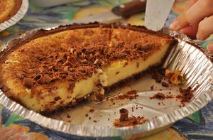 Cheesecake: Cheesecake  with chocolate shavings on top