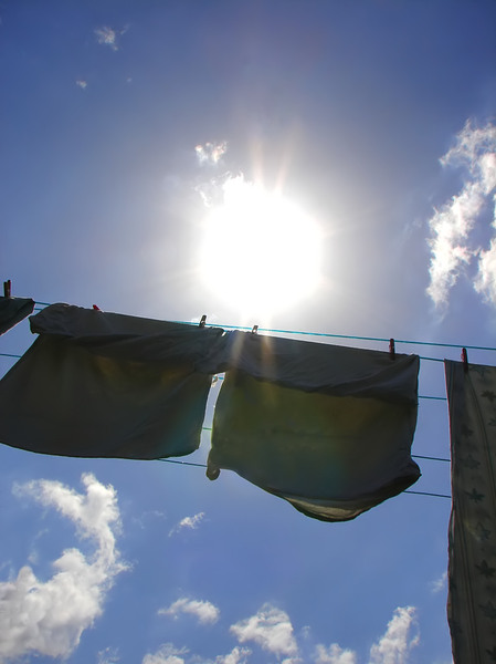 washing day: washing hanging on a clothes line