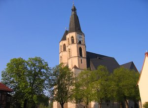 church with lopsided tower: St. Blasii - the church with lopsided tower in Nordhausen, Germany