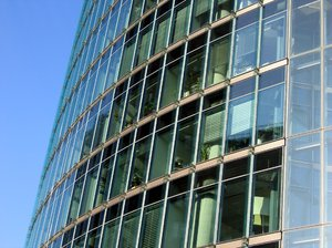 glass office building: This building can be found on the Potsdamer Platz in Berlin, Germany.