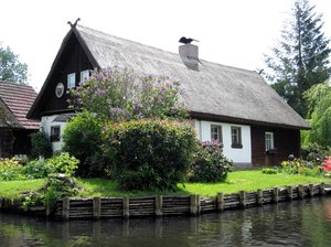 cottage in spring at the water: cottage in spring at the waterside