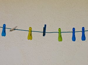 clothesline: clothesline with colourful clothespins