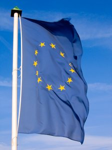 european flag: european flag in the wind