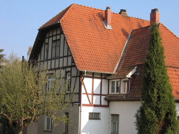 red roof on half timbered hous: red roof on half timbered house