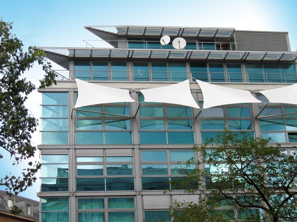 office building with sunscreen: office building with sunscreens