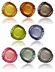 Bottle Caps: A series of bottle caps with reflections.Please visit my stockxpert gallery:http://www.stockxpert.com ..