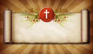 Cross Scroll: A vintage scroll with a Christian cross.For a Hi Res version of this image, visit my stockxpert gallery:http://www.stockxpert.com ..