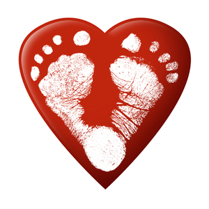 Love Feet: White foot prints on a red heart.