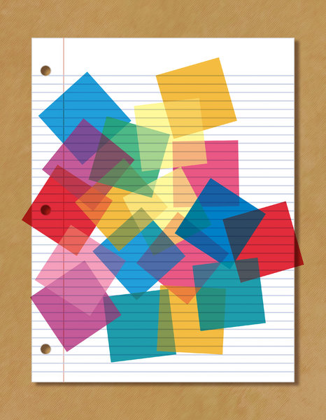 Notebook Paper 4: Notebook Paper with color gels overlayed.Please visit my stockxpert gallery:http://www.stockxpert.com ..