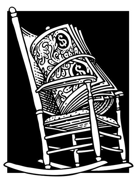 Retirement Money: Roll of cash in a rocking chair.Please visit my stockxpert gallery:http://www.stockxpert.com ..