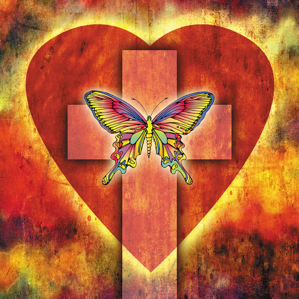 Rebirth 3: A vintage heart, cross and butterfly.For a larger version, please visit:http://www.stockxpert.com ..