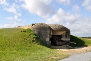 Bunker  7: Remains of a German bunker of World War II at Longues-sur-Mer, Normandy, France