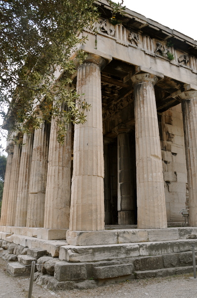 Theseion 2: The Temple of Hephaestus, also known as the Hephaisteion or earlier as the Theseion, is the best-preserved ancient Greek temple; it remains standing largely as built. It is a Doric peripteral temple, and is located at the north-west side of the Agora of A
