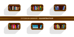 Free bookshelves illustration: Free bookshelves illustration for header, editorials, etc.