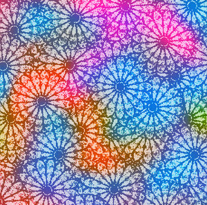 Floral Pattern: A series of floral pattern made from a stained glass rose window photograph.