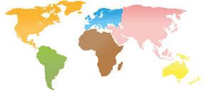 Continents world map: Continental Map with vivid and beautiful colours. Can be used for various concepts and addons