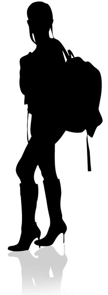 Travel Silhouette: Silhouette of a model with her backpack