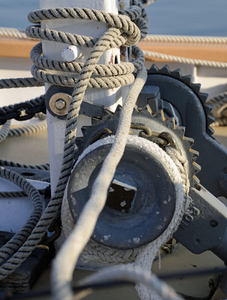 Anchor Windlass: The anchor windlass on the schooner Inland Seas